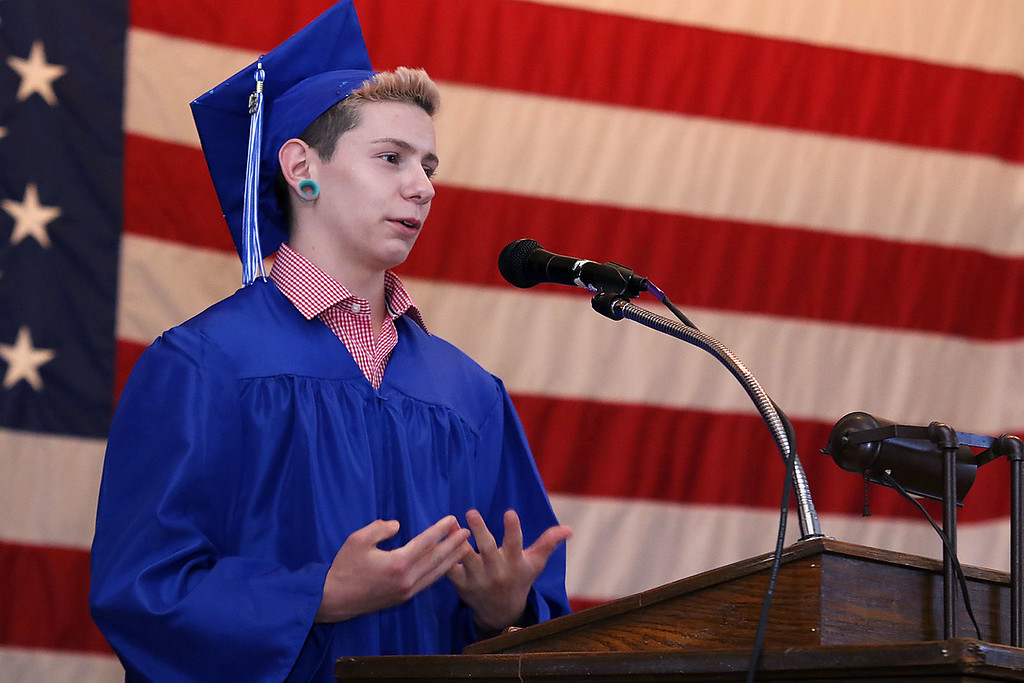 . Leominster Center for Excellence class of 2018 held their graduation ceremony on Thursday, May 31, 2018 at Leominster City Hall. This is just a few scenes from the graduation. Graduate Cody Hellijas addressed the crowd and graduates as one of the student speakers at the ceremony. SENTINEL & ENTERPRISE/JOHN LOVE