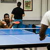 Stephen Boiquaye participates in the Fitchburg-Leominster Table Tennis Club at the Leominster Veterans Memorial Center on Thursday evening. SENTINEL & ENTERPRISE / Ashley Green