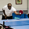 Kofi Oppong participates in the Fitchburg-Leominster Table Tennis Club at the Leominster Veterans Memorial Center on Thursday evening. SENTINEL & ENTERPRISE / Ashley Green