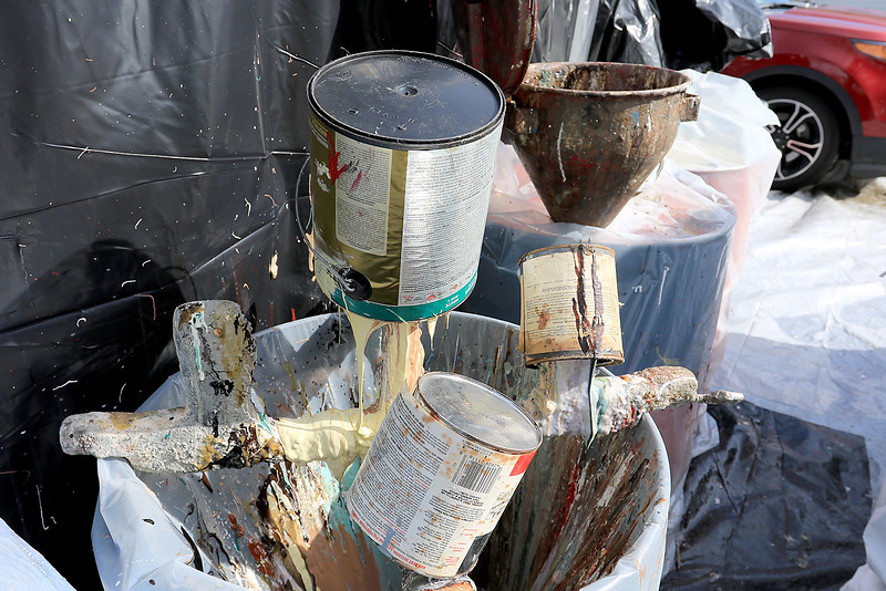 Leominster DPW yard had a hazardous waste collection day on Saturday from 9 a.m. to noon. This happens four times a year and is paid for by G.W. Shaws. Some paint cans are emptied into big buckets so their contents can be disposed of correctly. SENTINEL & ENTERPRISE/JOHN LOVE
