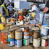 Leominster DPW yard had a hazardous waste collection day on Saturday from 9 a.m. to noon. This happens four times a year and is paid for by G.W. Shaws. Cans that were dropped off wait to be emptied so their contents can be disposed of correctly. SENTINEL & ENTERPRISE/JOHN LOVE