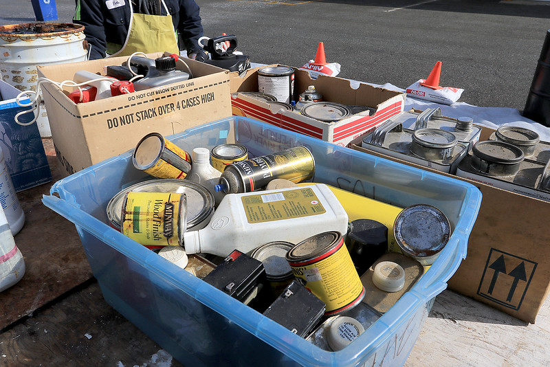 Leominster DPW yard had a hazardous waste collection day on Saturday from 9 a.m. to noon. This happens four times a year and is paid for by G.W. Shaws. Just some of the stuff dropped off druing the collection day. SENTINEL & ENTERPRISE/JOHN LOVE