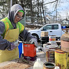 Leominster DPW yard had a hazardous waste collection day on Saturday from 9 a.m. to noon. This happens four times a year and is paid for by G.W. Shaws. Paul Gelinas with US Ecology opens up some of the cans they they got during the collection day. SENTINEL & ENTERPRISE/JOHN LOVE