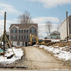 A multi-family development has Leominster residents mulling the possibility of outlawing shared driveways in the city. This project has shared driveways that exit onto both Lowe and Pleasant. Pictured here is the driveway that exits onto Pleasant Street. SENTINEL & ENTERPRISE / Ashley Green