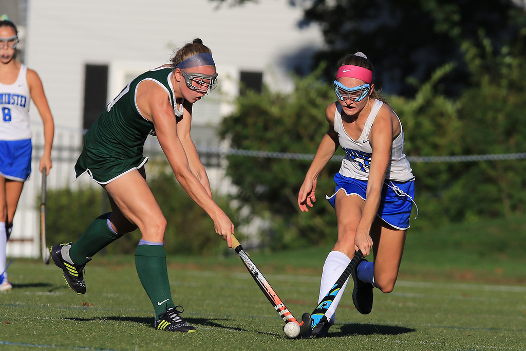 . Wachusett High School field hockey team visited Doyle Field in Leominster on Wednesday to play Leominster High School. Leominster\'s Grace Adams and WHS Kathleen Sawyer fight for control of the ball. SENTINEL & ENTERPRISE/JOHN LOVE