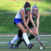 Wachusett High School field hockey team visited Doyle Field in Leominster on Wednesday to play Leominster High School. Leominster's Skylar Finnegan and WHS Kathleen Sawyer fight for control of the ball. SENTINEL & ENTERPRISE/JOHN LOVE