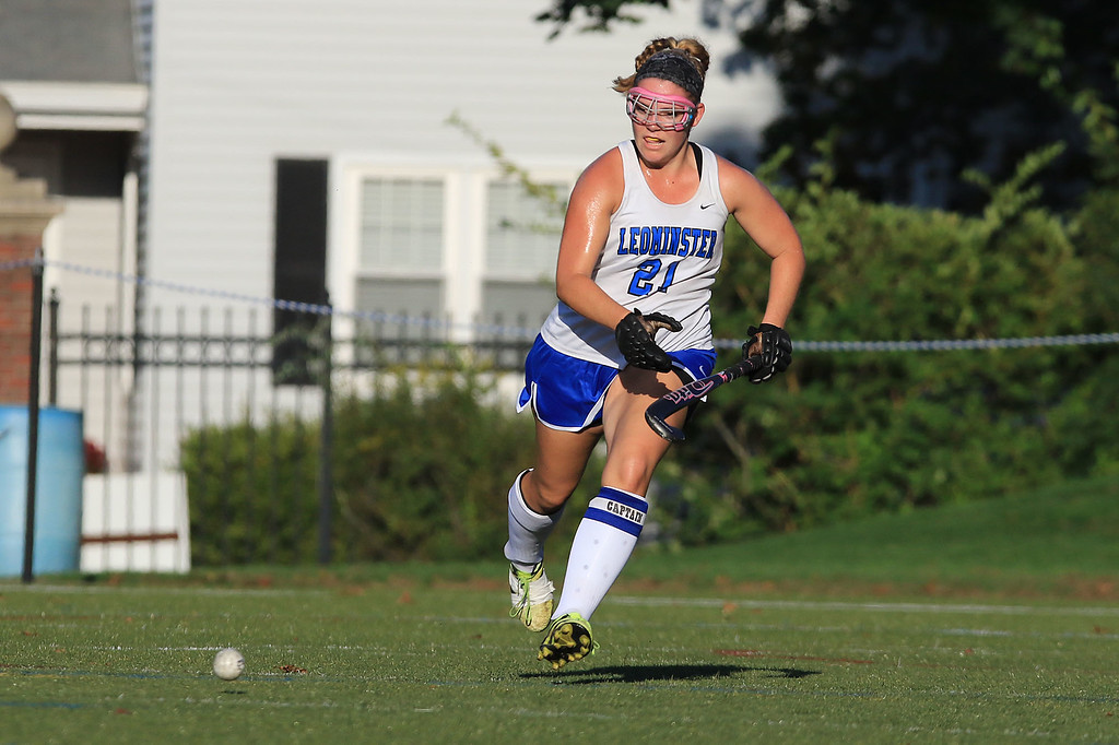 . Wachusett High School field hockey team visited Doyle Field in Leominster on Wednesday to play Leominster High School. LHS\'s Alexis Hahn chases down the ball. SENTINEL & ENTERPRISE/JOHN LOVE