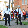 Chief Robert Sideleau II and Lt.Shane Newton President of the Leominster Ff's Reilef Assocation carry the wreath to the memorial SENTINEL&ENTERPRISE/Scott LaPrade