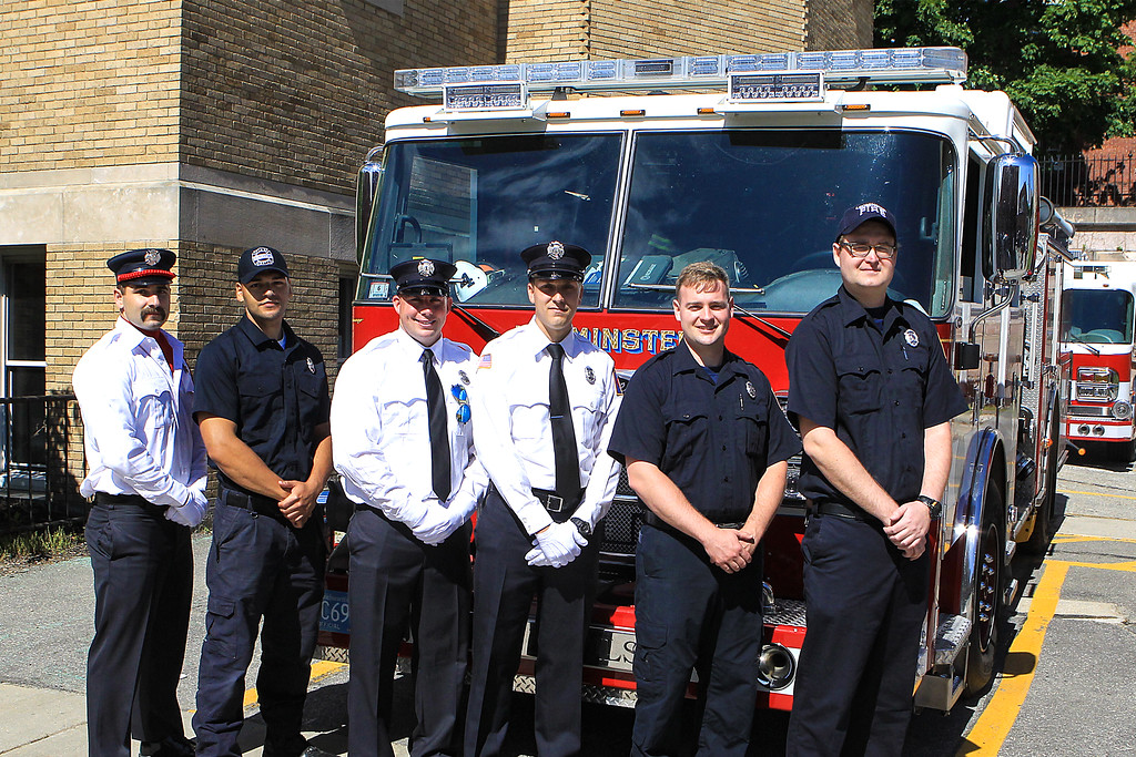 . Leomnister welcomes 6 new firefighters and their first FF Memorial Sunday L-R Adam Garabedian, Marcus Burnett, Adam Cordio, Matt Nelson, Dan Gaughan and Dillion Jones SENTINEL&ENTERPRISE/Scott LaPrade