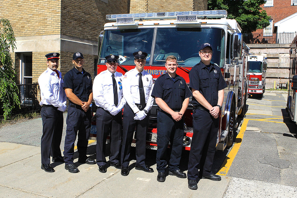 . Leomnister welcomes 6 new firefighters and their first FF Memorial Sunday L-R Adam Garabedian, Marcus Burnett, Adam Cordio, Matt Nelson, Dan Gaughan and Dillion Jones SENTINEL&ENTERPRISE/Scott LaPrade