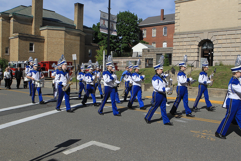 . Leominster High School Marching band provides the music for the march SENTINEL&ENTERPRISE/Scott LaPrade