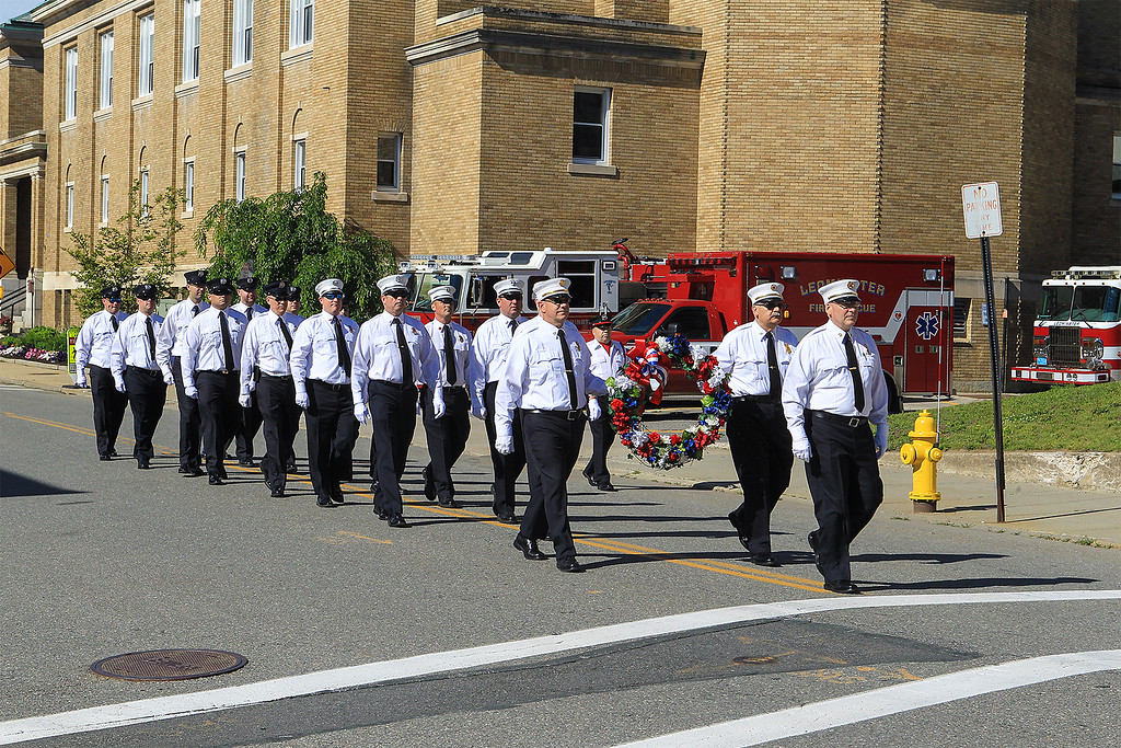 . Leominster Firefighters march to the memorial SENTINEL&ENTERPRISE/Scott LaPrade