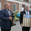 Co-founders Mark Bodanza and Gil Donatelli, left, discuss the upcoming Leominster High School Football Hall of Fame class. Bodanza holds the Ray Comerford Award that is given out each year since 2013 and Donatelli holds the Lou Little trophy. SENTINEL & ENTERPRISE/JOHN LOVE