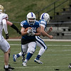 Leominster High School football played Doherty Memorial High School on Saturday night at Doyle Field in Leominster. LHS's #15 Nico Martinez. looks for some running room. SENTINEL & ENTERPRISE/JOHN LOVE