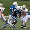 Leominster High School football played Doherty Memorial High School on Saturday night at Doyle Field in Leominster. LHS's #4 Vo'shon Dixon looks for some running room. SENTINEL & ENTERPRISE/JOHN LOVE