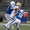 Leominster High School football played Doherty Memorial High School on Saturday night at Doyle Field in Leominster. LHS's #2 Ma'Kai Newton and #18 Riley Costa try and stop DMHS's #17 Isaiah Kparyea. SENTINEL & ENTERPRISE/JOHN LOVE