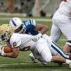 Leominster High School football played Doherty Memorial High School on Saturday night at Doyle Field in Leominster. LHS's #55 Isacc Tyson takes down DMHS's #5 Jairon Vega. SENTINEL & ENTERPRISE/JOHN LOVE