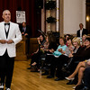 Dr. Ronald Ebb models clothing from Rene's Formal Wear during the Leominster Gents, Putting on the Threads Fashion Show at City Hall on Thursday evening. SENTINEL & ENTERPRISE / Ashley Green