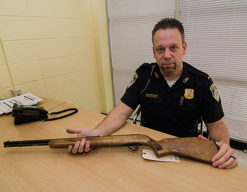 Leominster Police Lt. Michael Ciccolini talks about upcoming gun buyback program at the police station. SENTINEL & ENTERPRISE / Ashley Green