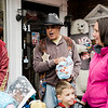 Mayor Dean Mazzarella participates in downtown trick-or-treating in Leominster on Saturday afternoon. SENTINEL & ENTERPRISE / Ashley Green