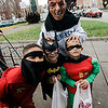 Darius Ruffin, 5, Ava Suarez, 5, Nico Suarez, 4, and Jaden Tammaro, 9,  participate in downtown trick-or-treating in Leominster on Saturday afternoon. SENTINEL & ENTERPRISE / Ashley Green