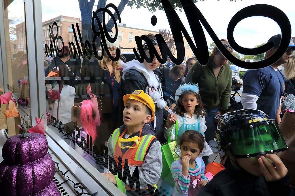 . The annual Halloween parade in Leominster was held on Saturday, October 20, 2018 in down town around Monument Square. The business were handing out candy to all the kids and the common was cover in tables with many politicians  SENTINEL & ENTERPRISE/JOHN LOVE