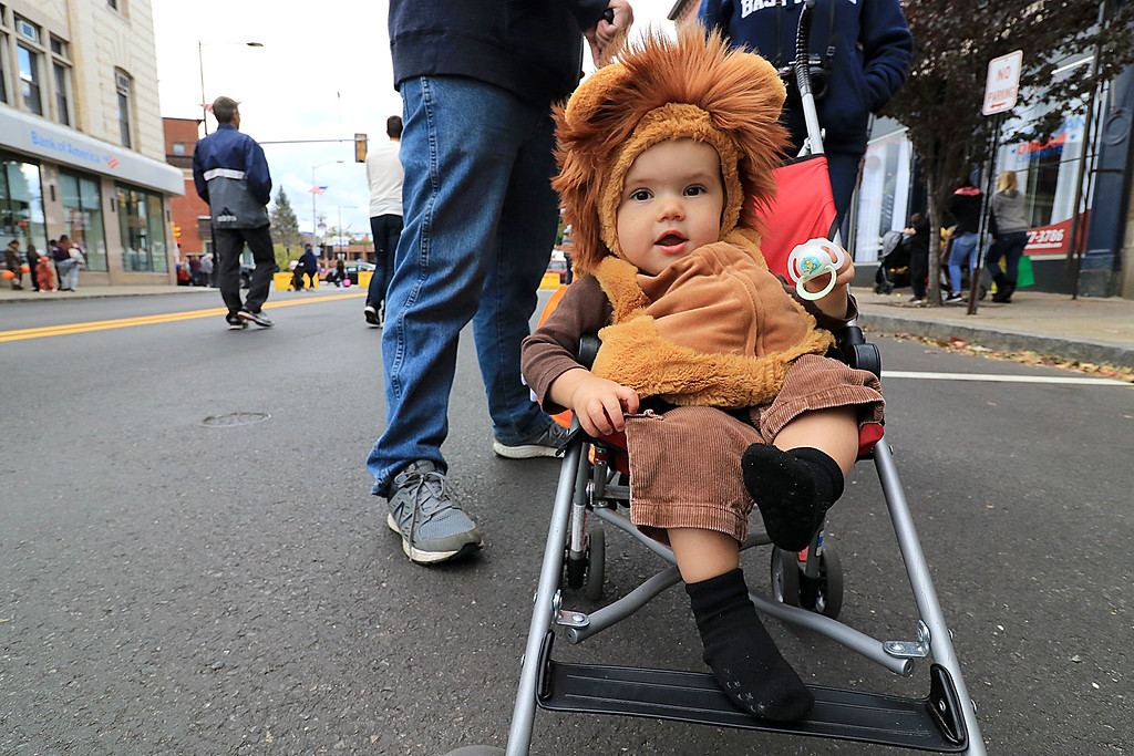 . The annual Halloween parade in Leominster was held on Saturday, October 20, 2018 in down town around Monument Square. The business were handing out candy to all the kids and the common was cover in tables with many politicians. Braden Mallard, 1, of Fitchburg dressed as a lion relaxes in his stroller during the event. SENTINEL & ENTERPRISE/JOHN LOVE