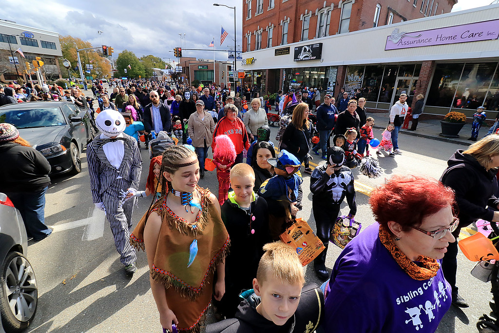 . The annual Halloween parade in Leominster was held on Saturday, October 20, 2018 in down town around Monument Square. The business were handing out candy to all the kids and the common was cover in tables with many politicians. The parade was well attended. SENTINEL & ENTERPRISE/JOHN LOVE