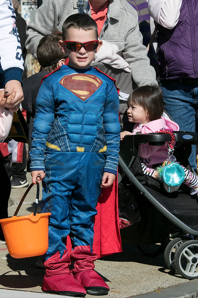 The annual Halloween parade was held in downtown Leominster on Saturday, Oct. 19, 2019. Matthew Hoisington, 4, from Lowell watches the parade dressed as Superman. SENTINEL & ENTERPRISE/JOHN LOVE