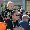 The annual Halloween parade was held in downtown Leominster on Saturday, Oct. 19, 2019. Rich Burbridge and Tristyn Burbridge, 2, from Lunenburg wait for the parade to start. SENTINEL & ENTERPRISE/JOHN LOVE