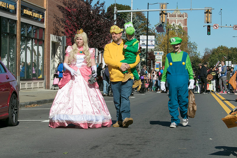 The annual Halloween parade was held in downtown Leominster on Saturday, Oct. 19, 2019. This family had a gaming theme for their costumes. From left is Allison Scott as Princes Peach, Chris Scott as Bowser, Nolan Scott, 4, as Yoshi and Camden Scott, 13, as Luigi. SENTINEL & ENTERPRISE/JOHN LOVE