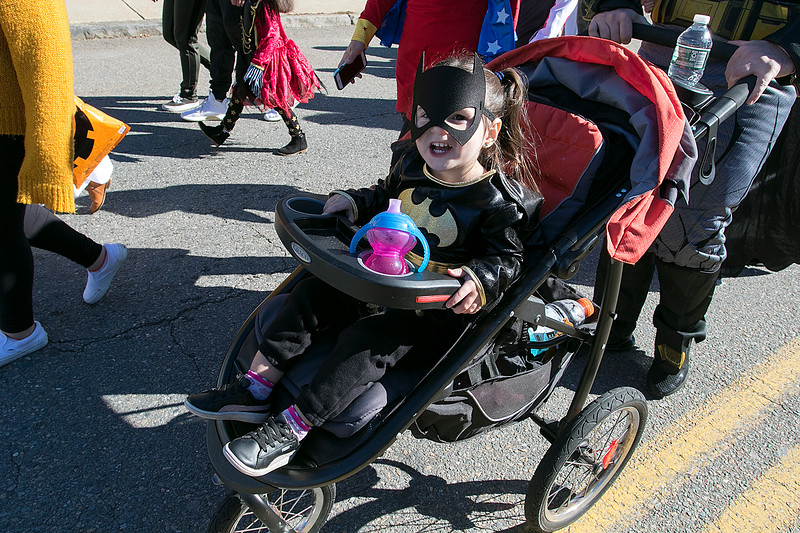 The annual Halloween parade was held in downtown Leominster on Saturday, Oct. 19, 2019. Arya Richard, 2, from Fitchburg was Batgirl for the parade. SENTINEL & ENTERPRISE/JOHN LOVE