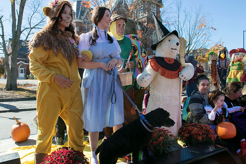 The annual Halloween parade was held in downtown Leominster on Saturday, Oct. 19, 2019. From left on this float in the parade is Diana Richard as the Cowardly Lion, Tara Lappas as Dorothy and Mayor Dean Mazzarella as the Scarecrow all characters from the 1939 movie the Wizard of Oz. SENTINEL & ENTERPRISE/JOHN LOVE