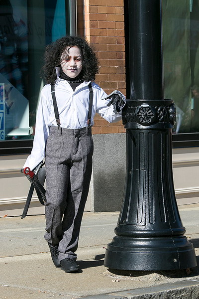 The annual Halloween parade was held in downtown Leominster on Saturday, Oct. 19, 2019. This little Edward Scissorhands was London Quinones, 8, from Leominster. SENTINEL & ENTERPRISE/JOHN LOVE