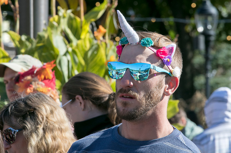 The annual Halloween parade was held in downtown Leominster on Saturday, Oct. 19, 2019. Joe Bettencourt of Leominster dressed up as a unicorn for the event. SENTINEL & ENTERPRISE/JOHN LOVE