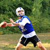 Leominster QB Noah Gray throwing the ball at 1st practice
