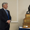 Co-founder of the Leominster Football Hall of Fame Mark Bodanza stands next to the Lou Little Award during the seventh annual Leominster Football Hall of Fame Dinner and Induction ceremony on Saturday November 19, 2016 at the Double Tree in Leominster.  (Sentinel & Enterprise photo/Jeff Porter)