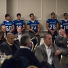 The 2016 Leominster High School football teams lines the back of the room during the first part of the seventh annual Leominster Football Hall of Fame Dinner and Induction ceremony on Saturday November 19, 2016 at the Double Tree in Leominster.  (Sentinel & Enterprise photo/Jeff Porter)