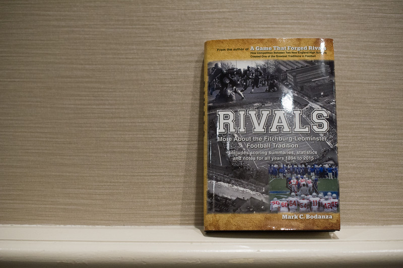 "The book ""Rivals"" written by the Leominster Football Hall of Fame co-founder Mark Bodanza sits outside the convention hall during the seventh annual Leominster Football Hall of Fame Dinner and Induction ceremony on Saturday November 19, 2016 at the Double Tree in Leominster.  (Sentinel & Enterprise photo/Jeff Porter)"