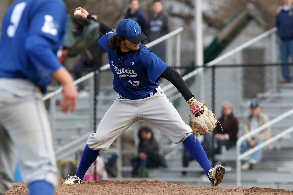 . Leominster High School baseball team played Shrewsbury High School at Doyle field in Leominster. Leominster pitcher Lowell Pare winds up to deliver a pitch during action in the game. SENTINEL & ENTERPRISE/JOHN LOVE