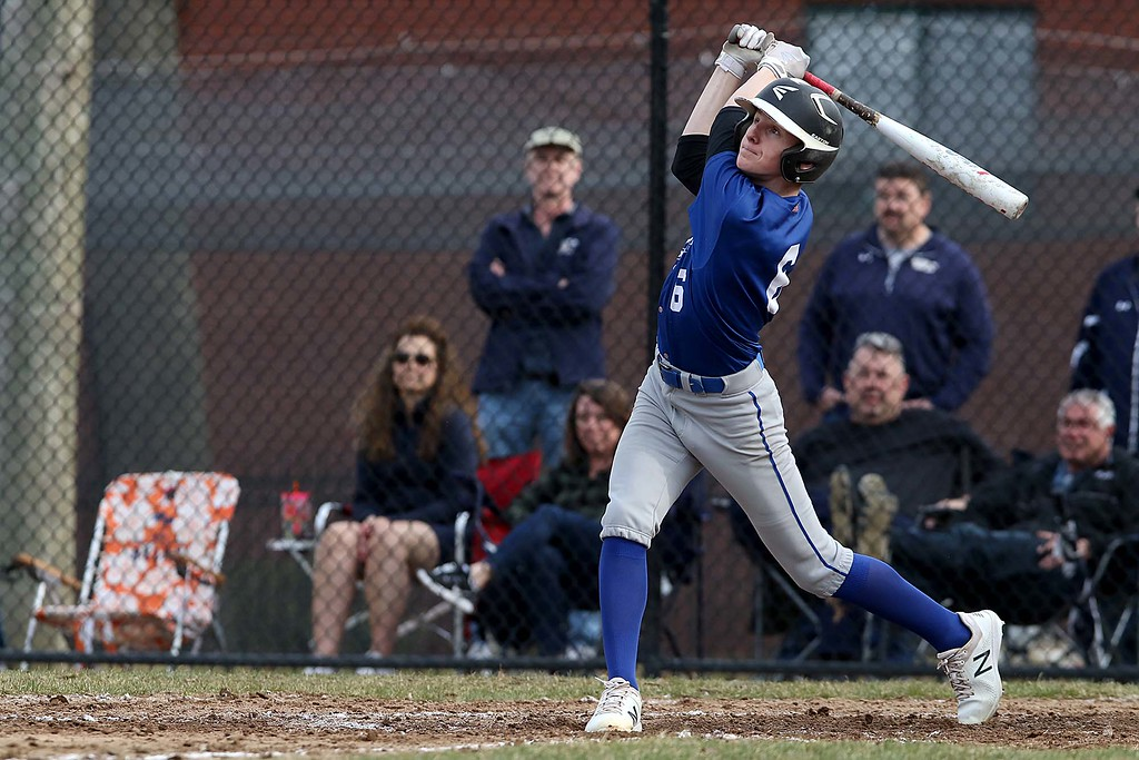 . Leominster High School baseball team played Shrewsbury High School at Doyle field in Leominster. Leominster player Danny Garcia keeps his eye on his hit just before taking off down the first base line during action in the game. SENTINEL & ENTERPRISE/JOHN LOVE