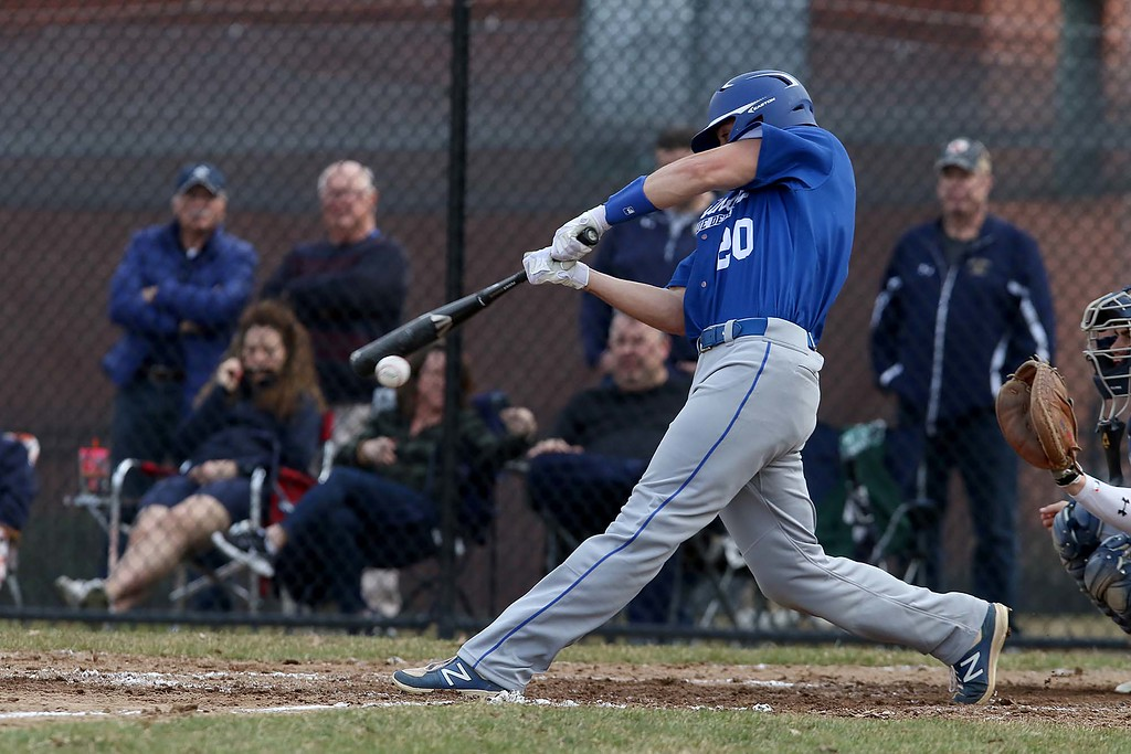 . Leominster High School baseball team played Shrewsbury High School at Doyle field in Leominster. Leominster player Zach DelGiudace gets a piece of the ball during action in the game. SENTINEL & ENTERPRISE/JOHN LOVE