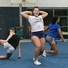 The Leominster High School cheerleading squad at practice on Thursday afternoon, Nov. 21, 2019. Sophomore Jayla Bennett during their routine. SENTINEL & ENTERPRISE/JOHN LOVE