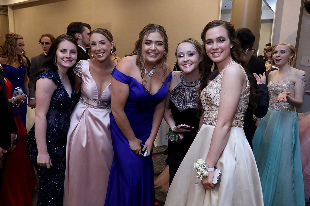 . Leominster High School Prom was held at the DoubleTree by Hilton Hotel Leominster on Saturday night, May 12, 2018. From left is Gabby Tresalonu, Emily Hogue, Chloe Vella, Julia Hamilton and Megan Caless. SENTINEL & ENTERPRISE/JOHN LOVE