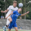 Leominster High School boys soccer played Nashoba Regional High School on Wednesday, September 4, 2019 at Doyle Field in Leominster. LHS's Andrew Sanchez and NRHS's Andrew Ahlquist try and head the ball during action in the game. SENTINEL & ENTERPRISE/JOHN LOVE