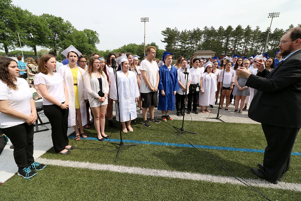 . Leominster high School class of 2018 held their 148th commencement on Saturday, June 2, 2018. The LHS Chorus performs the national anthem at the start of the ceremony. SENTINEL & ENTERPRISE/JOHN LOVE