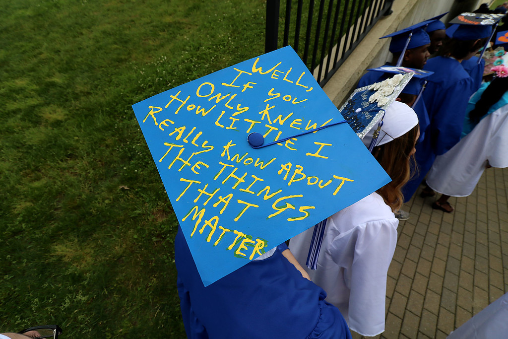 . Leominster high School class of 2018 held their 148th commencement on Saturday, June 2, 2018. Singing and playing the keyboard with the LHS Jazz Band is graduate Jesse Blackman. Some of the students decorated their mortarboards for the ceremony. SENTINEL & ENTERPRISE/JOHN LOVE