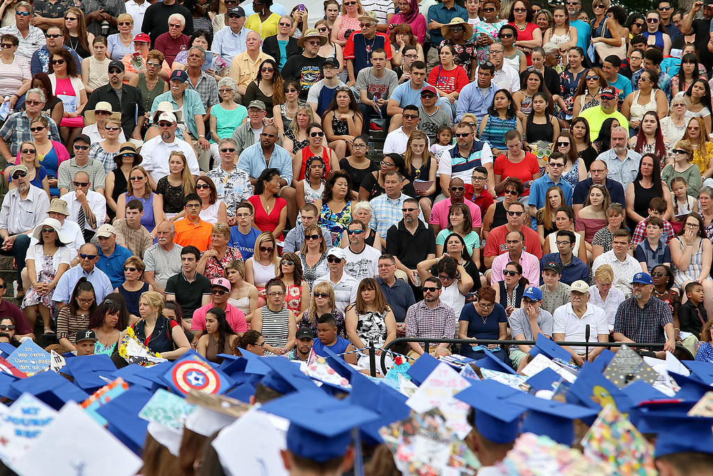 . Leominster high School class of 2018 held their 148th commencement on Saturday, June 2, 2018. Family and friends of the graduates watch the ceremony as the temperature started rise. SENTINEL & ENTERPRISE/JOHN LOVE