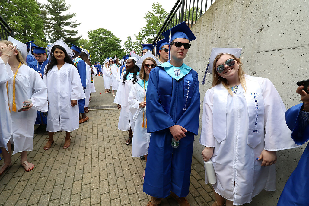 . Leominster high School class of 2018 held their 148th commencement on Saturday, June 2, 2018. Students line up and ready for the ceremony to start. SENTINEL & ENTERPRISE/JOHN LOVE
