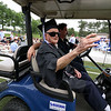 Leominster high School class of 2018 held their 148th commencement on Saturday, June 2, 2018. Roland Martineau, 94, waves to the crowd as he makes his way onto the football field to finally receive his 1942 high school diploma. SENTINEL & ENTERPRISE/JOHN LOVE